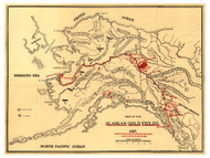 Alaska 1897 Lee - Old State Map Reprint