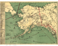 Alaska 1897 Milroy - Old State Map Reprint