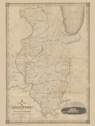 Illinois 1835  - Old State Map Reprint