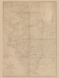 Illinois 1836 Congress - Old State Map Reprint
