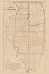 Illinois 1848  - Old State Map Reprint