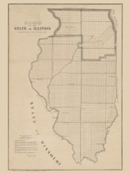 Illinois 1849  - Old State Map Reprint