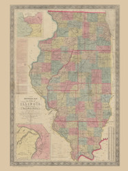Illinois 1854 Peck - Sectional Map of Illinois - Old State Map Reprint