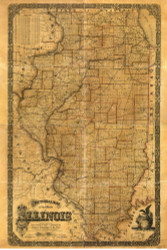 Illinois 1861 Richter - Old State Map Reprint