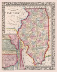 Illinois 1863 Mitchell - Counties - Old State Map Reprint
