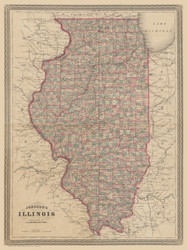 Illinois 1864 Johnson - Old State Map Reprint