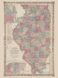 Illinois 1869 Colton  - Old State Map Reprint