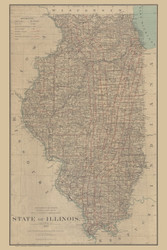 Illinois 1885 General Land Office - Old State Map Reprint