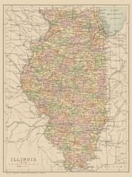 Illinois 1890 Lippincott - Old State Map Reprint