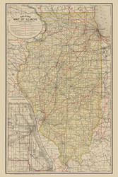 Illinois 1891 Railroad Commissioners - Old State Map Reprint