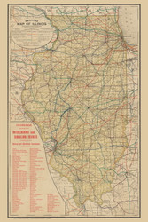 Illinois 1895 Railroad Commissioners - Shows Crossings with Devices - Old State Map Reprint