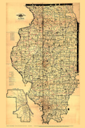 Illinois 1897 Galbraith - Quirky Railroad Map - Old State Map Reprint