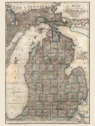 Michigan 1853 Farmer - Old State Map Reprint