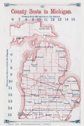 Michigan 1854 Larrance - County Seats - Old State Map Reprint