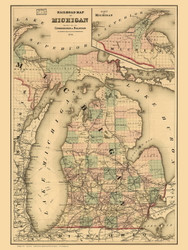 Michigan 1876  Railroads - Old State Map Reprint