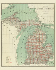 Michigan 1878 General Land Office - Old State Map Reprint