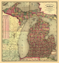 Michigan 1885 Cram & Stebbins - Old State Map Reprint