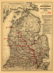 Michigan 1886 Colton - Toledo, Ann Arbor and North Michigan Railways - Old State Map Reprint
