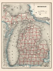 Michigan 1893 Cram  - Old State Map Reprint