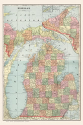 Michigan 1901 Murry-Aaron - Old State Map Reprint