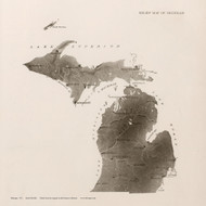 Michigan 1912  - Old State Map Reprint
