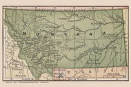 Montana 1880 Bolitho - Old State Map Reprint