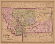 Montana 1890  - Old State Map Reprint