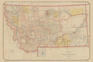 Montana 1897  - Old State Map Reprint