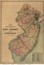 New Jersey 1887 Van Cleef - Railroads - Old State Map Reprint