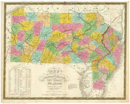 Pennsylvania 1831 Mitchell -Pennsylvania, New Jersey & Delaware - Old State Map Reprint