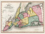Queens and Kings County New York 1840 - Burr State Atlas