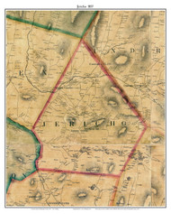 Jericho , Vermont 1857 Old Town Map Custom Print - Chittenden Co.