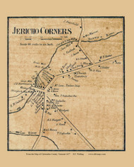 Jericho Corners, Vermont 1857 Old Town Map Custom Print - Chittenden Co.