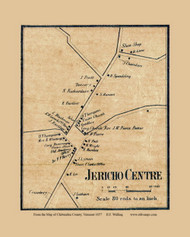 Jericho Centre , Vermont 1857 Old Town Map Custom Print - Chittenden Co.