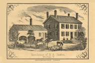 Residence of N.A. Saxton, Vermont 1857 Old Town Map Custom Print - Addison Co.