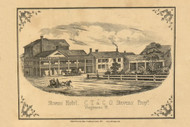 Stevens Hotel, Vermont 1857 Old Town Map Custom Print - Addison Co.
