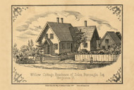 Willow Cottage - Solon Burroughs, Esq., Vermont 1857 Old Town Map Custom Print - Addison Co.