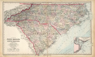 North Carolina 1881 Gray - Old State Map Reprint