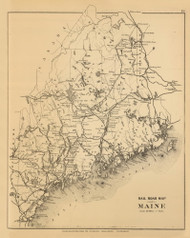 Railroad Map of Maine 2, Maine 1894 Old Map Reprint - Stuart State Atlas