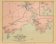 Cape Arundel - Kennebunkport -  Gooch Beach Cape Porpoise 3, Maine 1894 Old Map Reprint - Stuart State Atlas