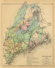 Geological Map of Maine 4, Maine 1894 Old Map Reprint - Stuart State Atlas