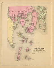 Boothbay 5, Maine 1894 Old Map Reprint - Stuart State Atlas