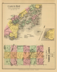 Casco Bay, Jones Landing Village and Timber Lands No. 1 8, Maine 1894 Old Map Reprint - Stuart State Atlas