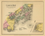 Casco Bay & Peaks Island - CUSTOM 8a, Maine 1894 Old Map Reprint - Stuart State Atlas
