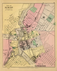 Cities of Auburn and Lewiston 14, Maine 1894 Old Map Reprint - Stuart State Atlas