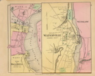 Cities of Hallowell, Waterville and Winslow Village 30, Maine 1894 Old Map Reprint - Stuart State Atlas