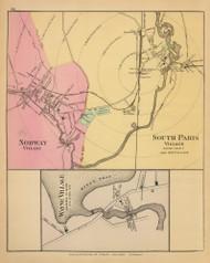Norway, South Paris and Wayne Villages 38, Maine 1894 Old Map Reprint - Stuart State Atlas