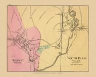 Norway & South Paris Villages 38a, Maine 1894 Old Map Reprint - Stuart State Atlas