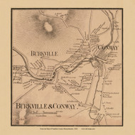 Burkeville & Conway, Massachusetts 1858 Old Town Map Custom Print - Franklin Co.