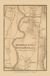 Old Deerfield Center, Wapping & Mill Village, Massachusetts 1858 Old Town Map Custom Print - Franklin Co.
